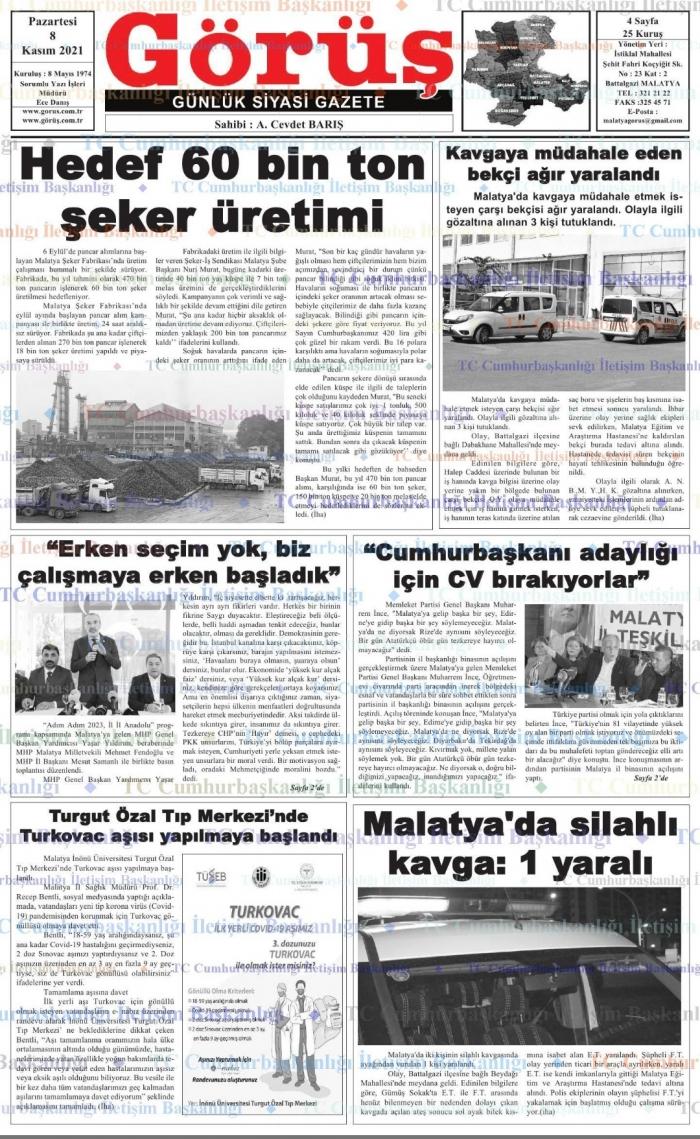Malatya'da Günün Gazete Manşetleri