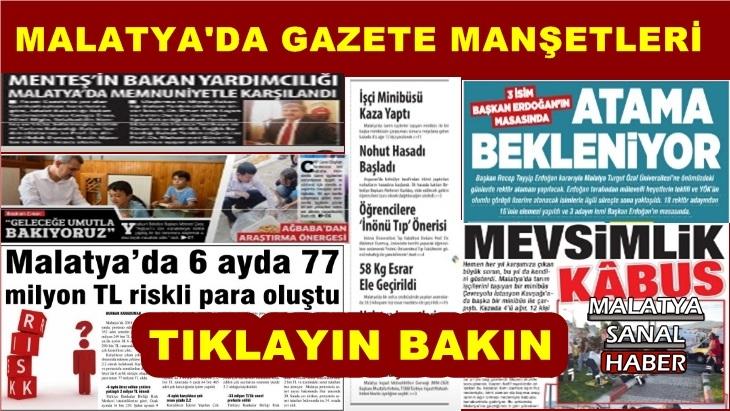 Malatya'da Gazete Manşetleri