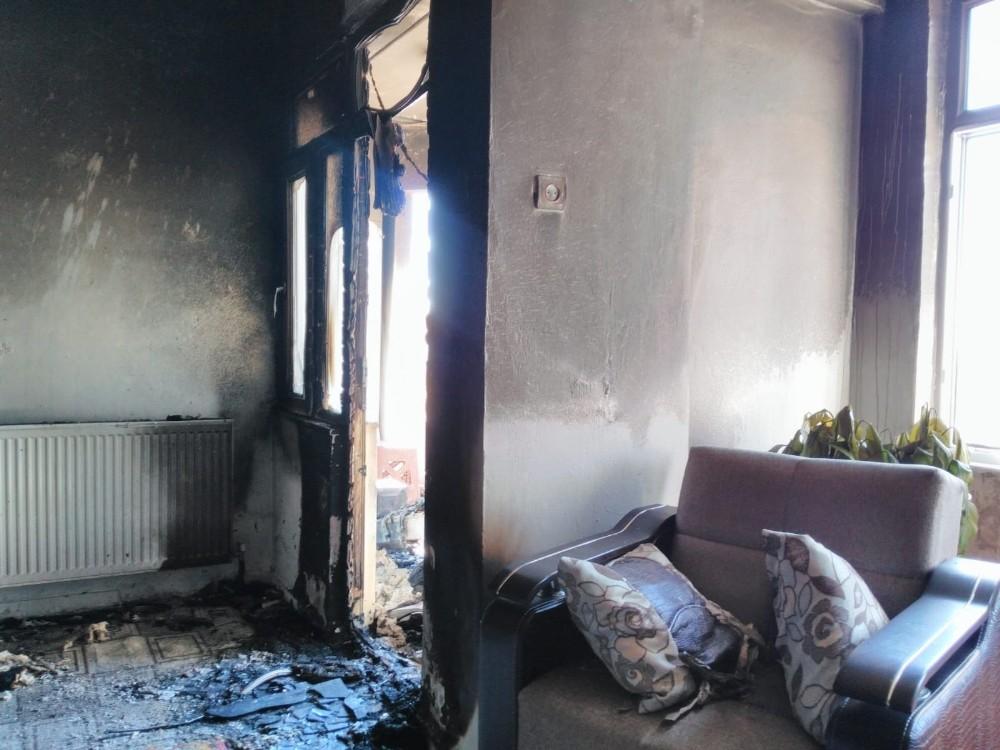 Kombi yangını evde maddi hasara neden oldu