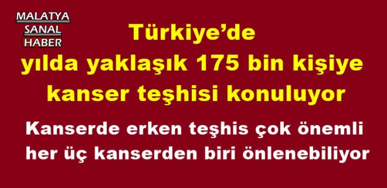 Türkiye'de yılda yaklaşık 175 bin kişiye kanser teşhisi konuluyor