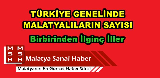 Türkiye Genelinde Malatyalıların Sayısı