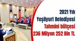 2021 Yılı Yeşilyurt Belediyesi tahmini bütçesi 236 Milyon 252 Bin TL