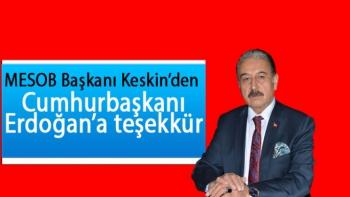 Cumhurbaşkanı Erdoğan'a teşekkür