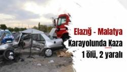 Elazığ - Malatya Karayolunda Kaza  1 ölü, 2 yaralı