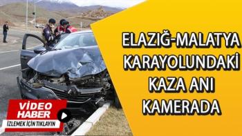 Elazığ-Malatya Karayolundaki Kaza anı kamerada
