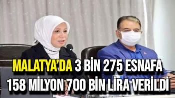 Malatya'da 3 bin 275 esnafa 158 milyon 700 bin lira verildi