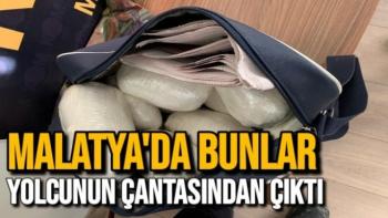 Malatya'da bunlar yolcunun çantasından çıktı