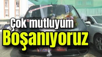 Malatya'da Gelin arabası gibi süslettiği aracıyla boşanma davasına gitti