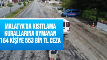 Malatya'da Kısıtlama kurallarına uymayan 164 kişiye 553 bin TL ceza