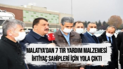 Malatya'dan 7 tır yardım malzemesi ihtiyaç sahipleri için yola çıktı