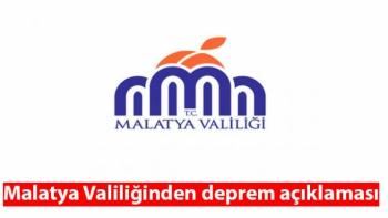 Malatya Valiliğinden deprem açıklaması