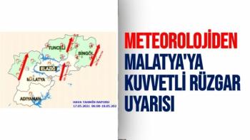 Meteorolojiden Malatya'ya kuvvetli rüzgar uyarısı