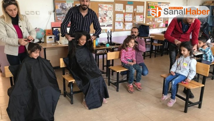 Köy okullarındaki öğrencilere kuaför hizmeti