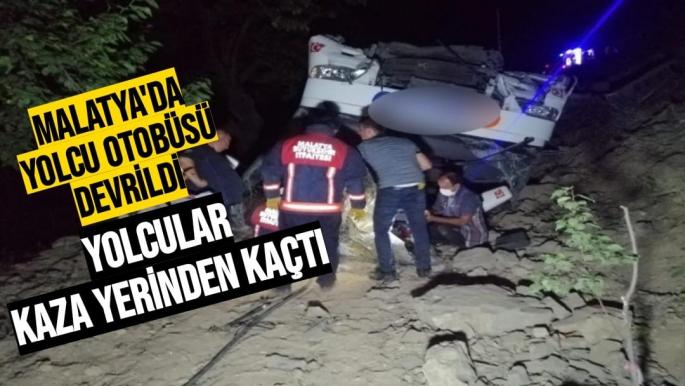 Malatya'da Yolcu otobüsü devrildi, Yolcular kaza yerinden kaçtı