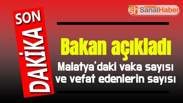Malatya'da vaka sayısı ve vefat edenlerin sayısı