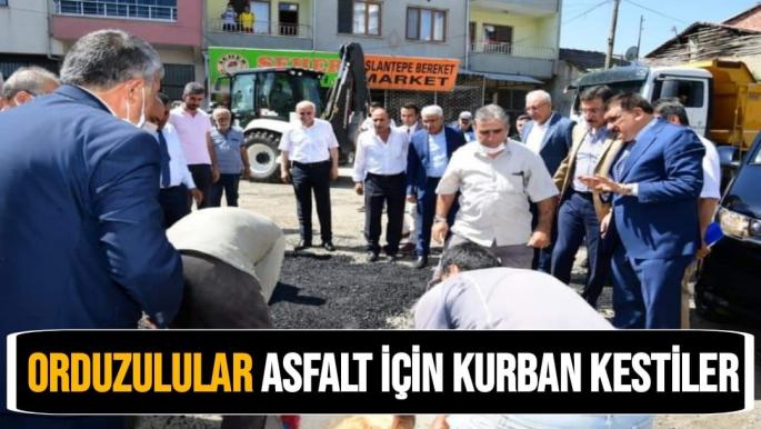 Orduzulular asfalt için kurban kestiler