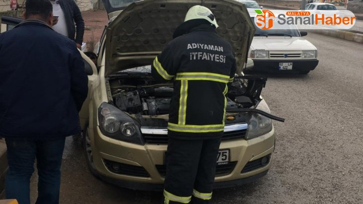 Otomobildeki yangın kısa sürede söndürüldü