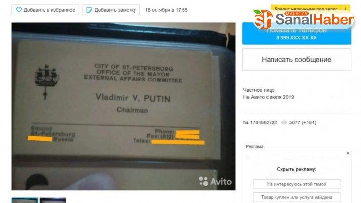 Putin'in kartvizitini 2 milyon ruble'ye satışa çıkardı