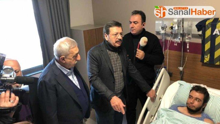 TOBB, TESK ve Hak-İş başkanlarından yaralı depremzedelere ziyaret