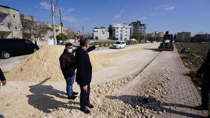 Başkan Kılınç, Dumlupınar Caddesindeki çalışmaları yerinde inceledi
