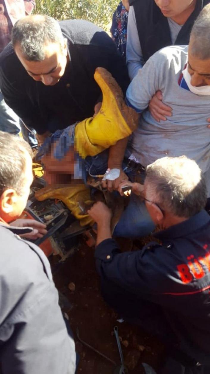 Çapa makinasına ayakları sıkışan şahıs yaralandı