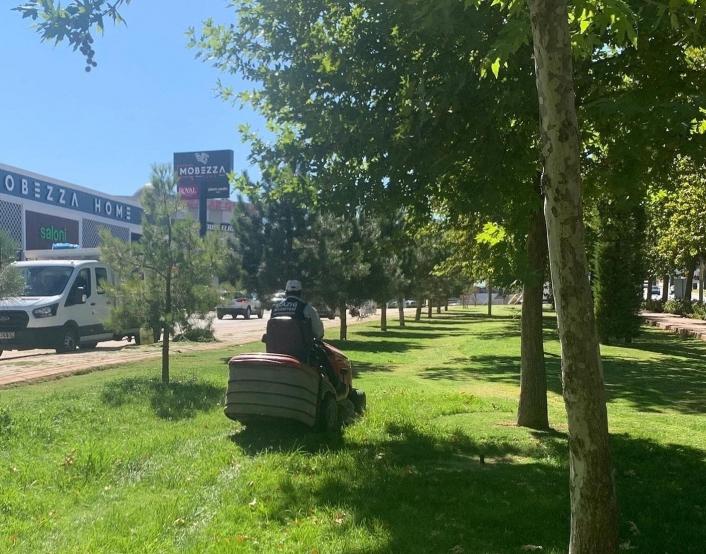 Elazığ Belediyesi çim biçme çalışmalarını aralıksız sürdürüyor