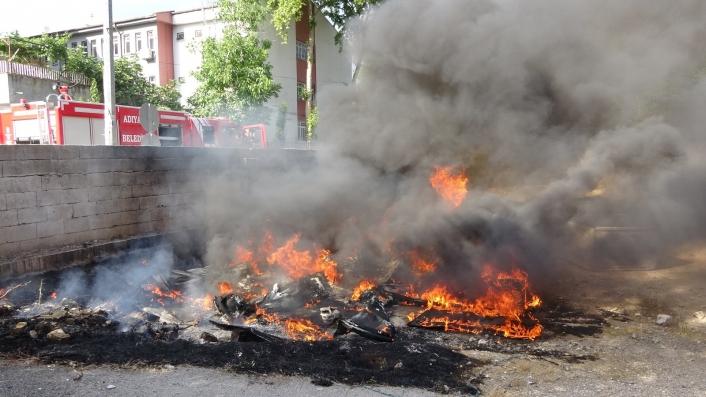 Hurdaya ayrılan araç kabinleri yandı