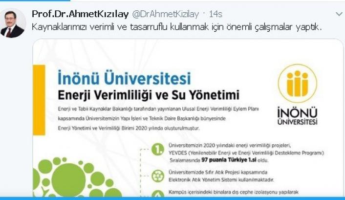 İnönü Üniversitesi enerji verimliliğinde Türkiye 1´ncisi