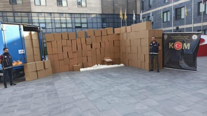 Kahramanmaraş´ta 2 milyon 500 bin adet kaçak makaron ele geçirildi