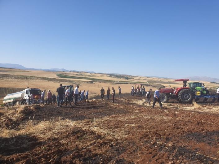 Kahta´da 200 dönümlük arpa ekili alan yandı