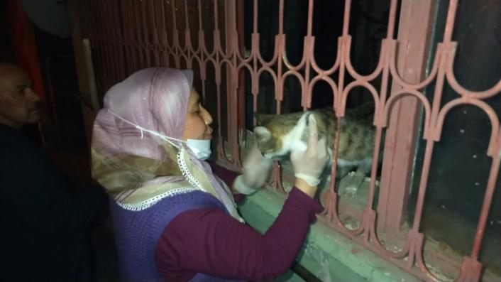 Kurtarılan kedisini öperek sevdi