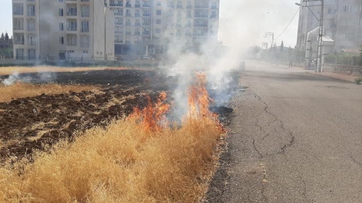 Mahalle arasındaki otluk yangını korkuttu
