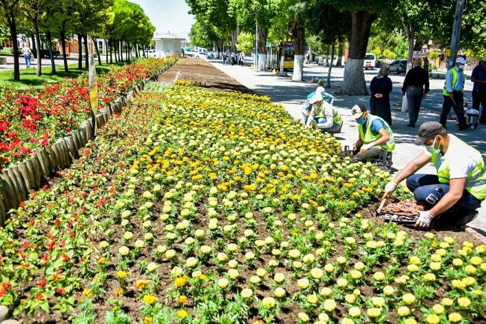 Malatya´da parklar çiçeklerle süsleniyor