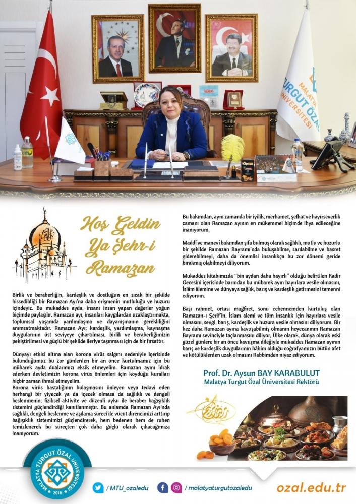 Rektör Karabulut´tan Ramazan Ayı mesajı