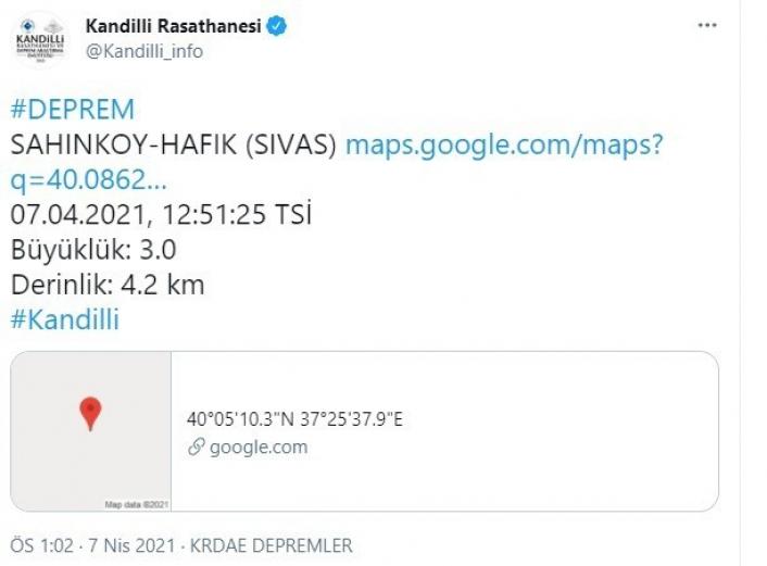 Sivas´ta 3.0 büyüklüğünde deprem meydana geldi