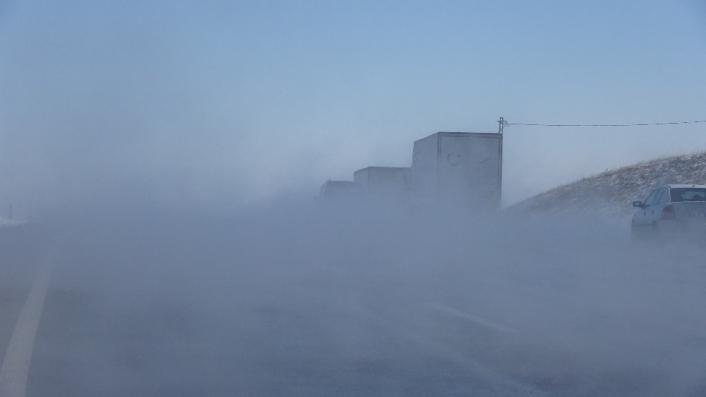 Sivas´ta ilginç görüntü, buhar içerisinde kayboldu