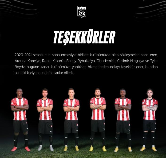 Sivasspor, 6 futbolcusuna teşekkür etti