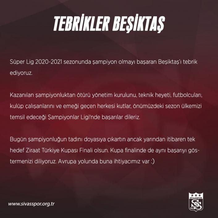 Sivasspor Beşiktaş´ı tebrik etti!