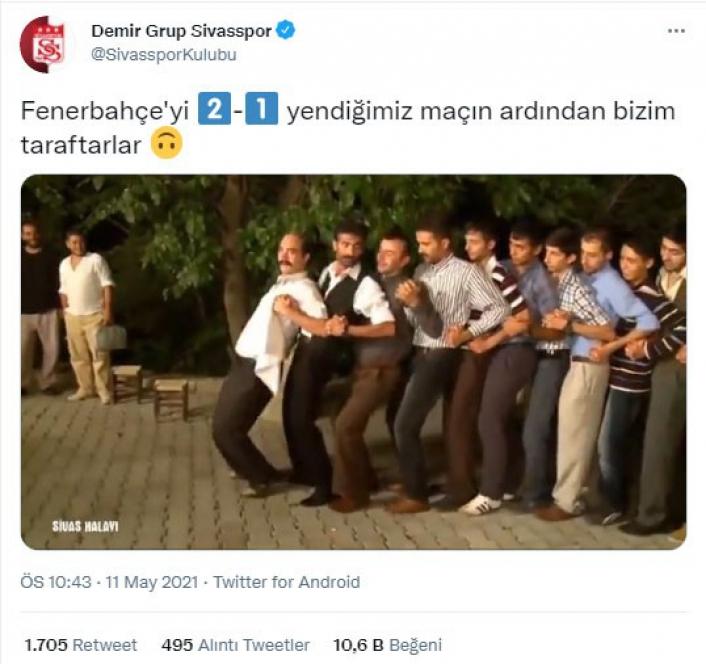 Sivasspor´dan Fenerbahçe galibiyeti sonrası paylaşım!