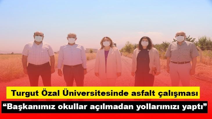 Turgut Özal Üniversitesinde asfalt çalışması