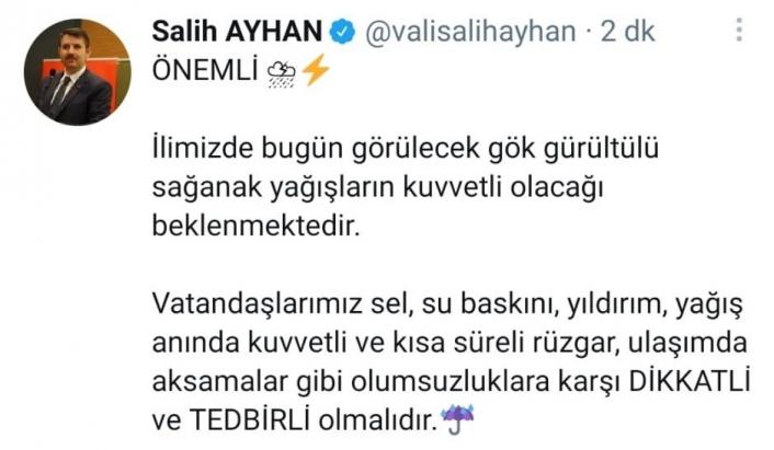 Vali Ayhan sosyal medya hesabından uyardı: