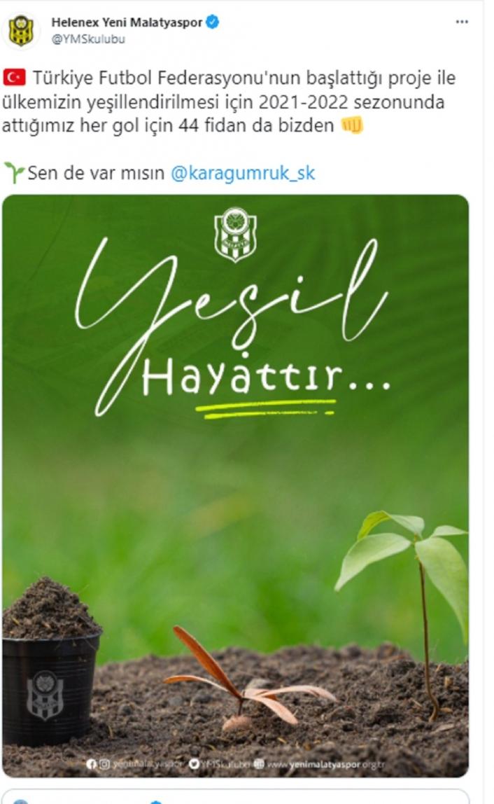 Yeni Malatyaspor attığı her gol için 44 fidan bağışlayacak