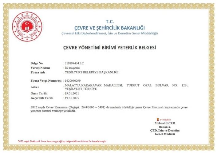 Yeşilyurt Belediyesi, çevre yönetim yeterlilik belgesini aldı